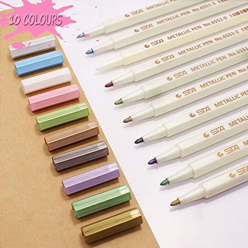 Metallic Marker Pens, Funnasting 10 Sortierten Farben Metallic Marker Pens Metallischen Stifte Maker...