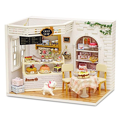 DIY Häuser Kit handgefertigte zusammengebaute Spielzeug Puppe Haus aus Holz innovative Zimmer mit Möbel Geburtstagsgeschenk für Jungen und Mädchen-Kuchen-Tagebuch