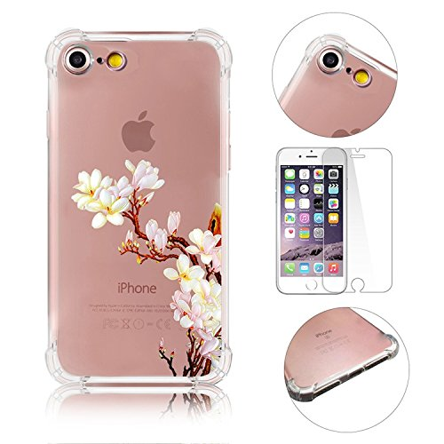 iPhone 7 Coque iPhone 7 Etui iPhone 7 Housse Case Cover,MingKun Ultra-Thin Crystal Clear TPU Silicone Clair Transparente Coque pour iPhone 7 Ultra Mince Premium Transparent Etui pour iPhone 7 Exact Fi Série fleurs-7