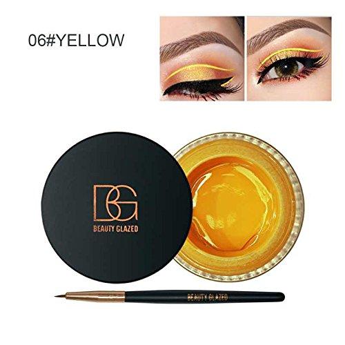 Beauty Glazed Eyeliner Gel Crème Avec La Brosse de Maquillage Cosmétique Waterproof Imperméable Eye Liner Brosse Kit Jaune
