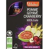 Vitabio Encas Bio 100% Fruits Pomme Goyave Cranberry 4 x 120 g - Lot de 3