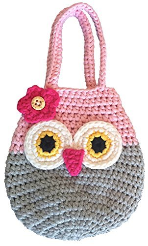 ag, Perfect Gift For Little & Young Girls, Cute Pink & Grey Purse, Handmade Crochet, Soft Yarn, Wristlet For All Ages, Dress-Up & Play Or Use As Cell Phone Case Holder & Pouch ()