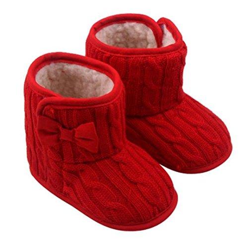 Zapatos para Beb¨¦,JiaMeng La Zapatilla Botas de Invierno c¨¢lido para Caminar Plano Tac¨®n Comodidad(Rojo,6-9M)