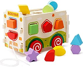 Akrobo Wooden Shape Sorter Bus Push Pull Truck Toy and Colour Recognition and Geometry Learning (Multicolour)