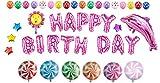 Somine Party Luftballons Set - inklusiv die Ballons mit Geformte von Happy Birthday Buchstaben, Sonnenblume, Lutscher, Stern, Delfine, Round Dot Bedruckt Luftballons für Partei Dekoration