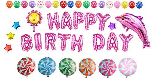 lons Set - inklusiv die Ballons mit Geformte von Happy Birthday Buchstaben, Sonnenblume, Lutscher, Stern, Delfine, Round Dot Bedruckt Luftballons für Partei Dekoration ()