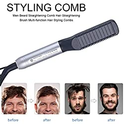 2-en-1 peigne de style pour cheveux et barbe, deux températures, barbe et peigne à lisser, meilleur cadeau pour père, mari, petit ami