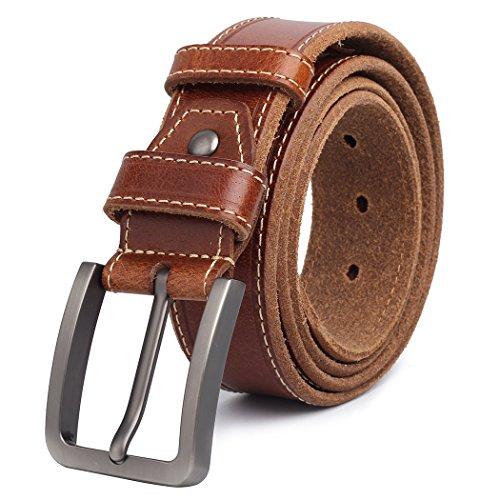 Jeans de cuero de grano completo Cinturones Clásico de cuero genuino Cinturón de diseñador de calidad para hombres Correa de piel de becerro con plata Pulido estilo de cuadro Hebilla marrón