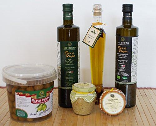 Scatola prodotti siciliani - set di oli extra vergine di oliva, capperi, pesto di finocchietto ed olive verdi in salamoia specialita' siciliane