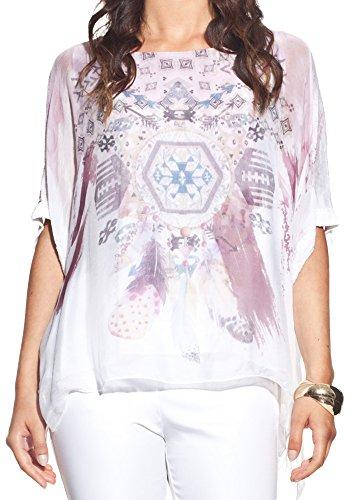 Laura Moretti - Asymétrique blouse en soie avec un imprimé original Rose