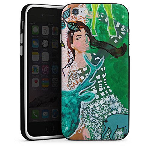 Apple iPhone 4 Housse Étui Silicone Coque Protection Femme Femme Cerf Housse en silicone noir / blanc