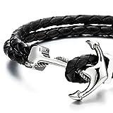 Edelstahl Anker Armband Herren Damen Armband Schwarz Geflochtene Lederarmband Leder Armreif - 3