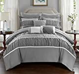 Chic Home 10 Piece Cheryl Pleated & Ruffled Bed In A Bag Comforter Set with Sheet Set, Queen, Grey