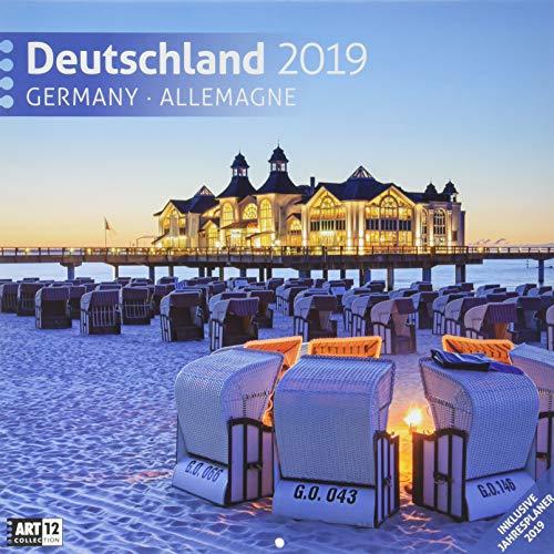 Deutschland 2019, Wandkalender / Broschürenkalender im Hochformat (aufgeklappt 30x60 cm) - Geschenk-Kalender mit Monatskalendarium zum Eintragen