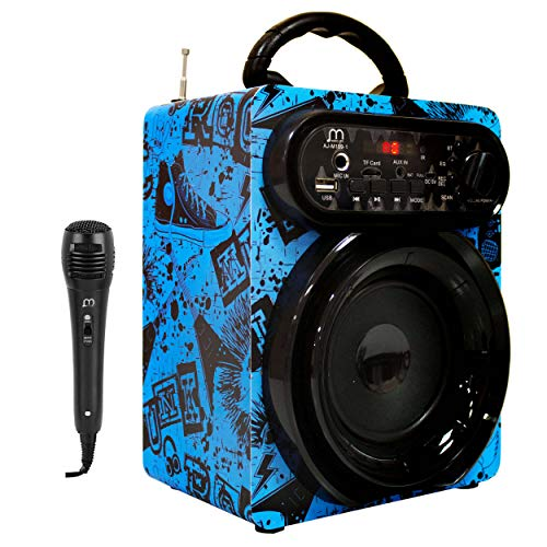 Altavoz Karaoke con Micrófono 15W Radio FM Portátil Inalámbrico USB TF Card Recargable con Mando
