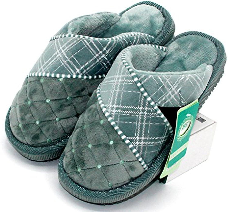 LaxBa  Invierno patinar en zapatillas piel falsa nieve forrada caliente Zapatos para hombres verde41-42 para 39...