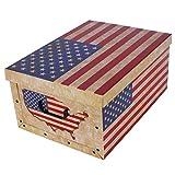 Kreher XXL Dekokarton Flagge USA. Karton mit Griffen aus Kunststoff und Deckel. Nutzvolumen ca. 40 Liter. Stapelbar. Maße BxTxH ca.: 51 x 37 x 24 cm