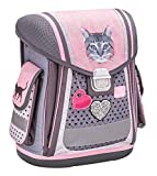 Belmil Ergonomischer Schulranzen Groß Mädchen Grundschule 1, 2, 3 Klasse Katze Cat Rosa Grau Glitter (404-5 Cute Cat)