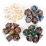 FLASHOWL Camaleonte Set di Dadi Set di Dadi e Draghi Multicolori di Dadi Set di Dadi per Giochi di Ruolo, Giochi da Tavolo, DND (4 Set, 28 Pezzi)