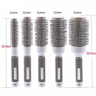 Aozzy Ceramic Ionic Round Comb Barrel Hair Brush Hairdressing Hair Salon Styling Barrel Curling Brush tool set(19mm 25mm 32mm 45mm 53mm)