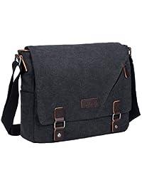 b4d266c7f3 S-ZONE 15 Inches Laptop Men s Large Laptop Messenger Shoulder Bag Vintage Canvas  Briefcase Crossbody