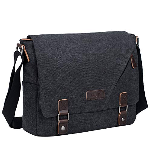 S-Zone Vintage Canvas Messenger Bag Schultasche für 35,6 cm (14 Zoll) Laptop Business Crossbody Bag Grau dunkelgrau