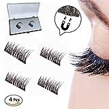 Dual Magnetic Eyelashes, Doppel Magnete, 3D Wiederverwendbare Falsche Magnetische Wimpern, 1 Paar 4 Stück