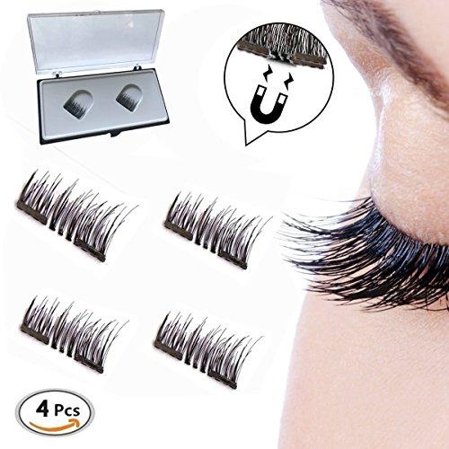 Dual Magnetic Eyelashes, Double aimants, 3D Réutilisable Fibre Magnétique Faux Cils,1 Paire 4 Pièces