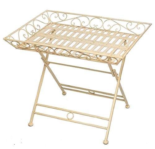 Gartentisch Schmiedeeisen Tisch Klapptisch Beistelltisch Antik-Stil weiß - Beistelltisch Weiß Antik