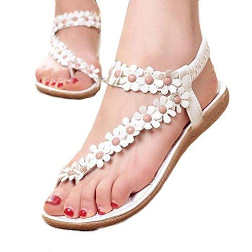 Hunpta Damen Mode süße Sommer Böhmen süße Perlen Sandalen Clip Toe Sandalen Badeschuhe Fischgrät Schuhe Weiß