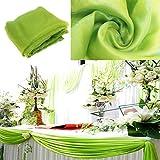 BITFLY 10M x 1.35M Sheer Organza Swag DIY Tela de la boda de la tapa de la tabla de eventos Decoración Partido Escalera arco Valance tabla falda - 30 colores disponibles Pasto verde