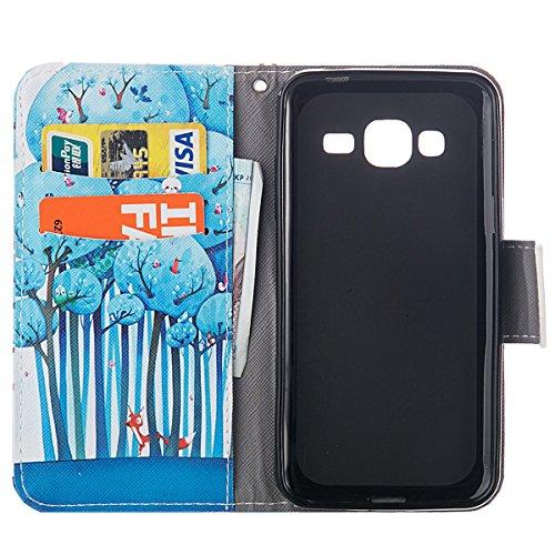 Coque pour Samsung Galaxy J3, Etui pour Samsung Galaxy J3 2016, ISAKEN Élégant Style PU Cuir Flip Magnétique Portefeuille Etui Housse de Protection Coque Étui Case Cover avec Stand Support et Carte de Forêt Bleu