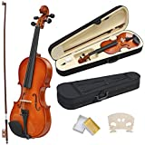 outdoortips New 4/4 Full Size Acoustic Violin Set With Case&Bow&Rosin Cake&Bridge&Strings
