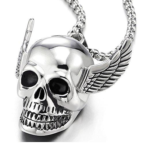Colgante de Cráneo con Ala del ángel, Calavera, Collar de...