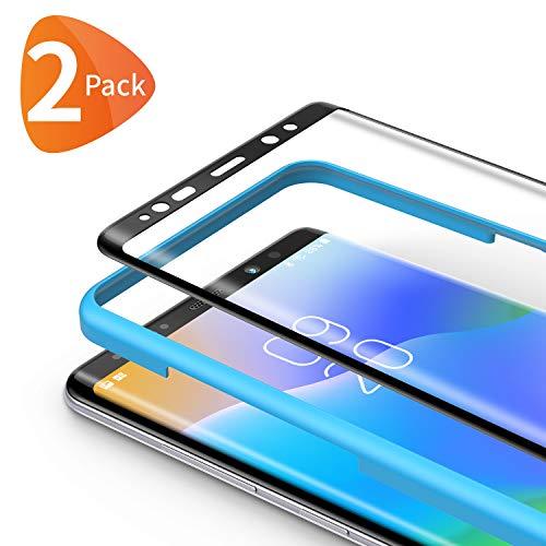Bewahly für Panzerglas Schutzfolie für Samsung Galaxy Note 8 [2 Stück], 3D Curved Panzerglasfolie Ultra Dünn HD Bildschirmschutzfolie 9H Folie mit Installation Werkzeug für Samsung Note 8 - Schwarz