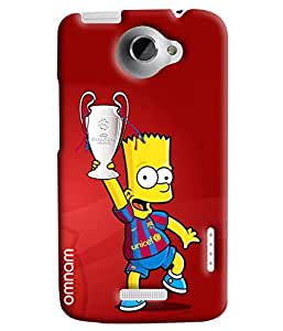 Omnam Cartoon Holding Football Cup Printed Designer Back Cover Case For HTC One X