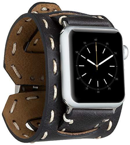 Burkley Leder Armband geeignet für Apple Watch 1/2 / 3/4 Uhrenarmband in breiter Ausführung mit Dornverschluss passned für die Apple Watch 42/44mm (Schwarz)
