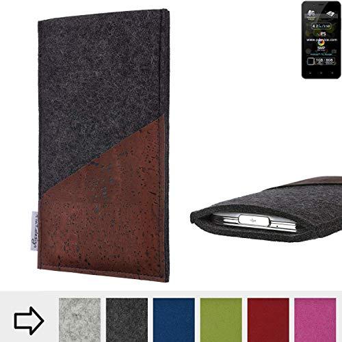flat.design Handy Hülle Evora für Allview P4 Pro handgefertigte Handytasche Kork Filz Tasche Case fair dunkelgrau