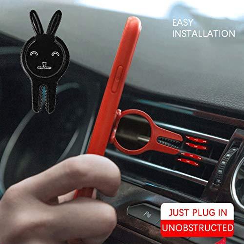 Lukame coniglio forma portatelefono multifunzionale rotazione 360 ° porta telefono supporto per cellulare multifunzione per auto(nero)