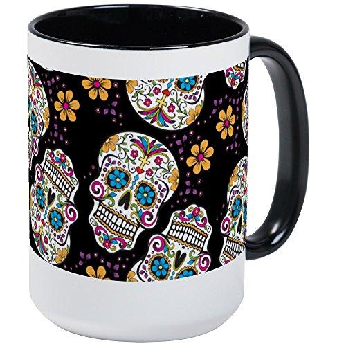 CafePress-Sugar Skull Halloween schwarz Tassen,-Kaffee Tasse, groß 15Oz Weiß Kaffee Tasse Large White/Black Inside