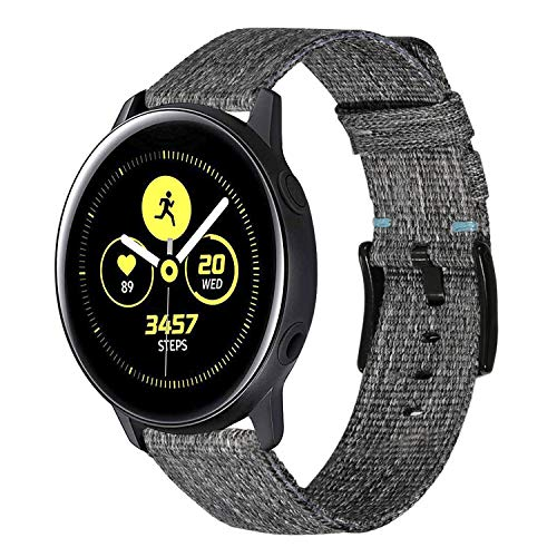 TRUMiRR Armband kompatibel mit Galaxy Watch Active/Galaxy Watch 42mm Armband, 20mm Schnellspanner Woven Nylon Uhrenarmband Leder Armband für Garmin Vivoactive 3, Samsung Galaxy Watch 42mm