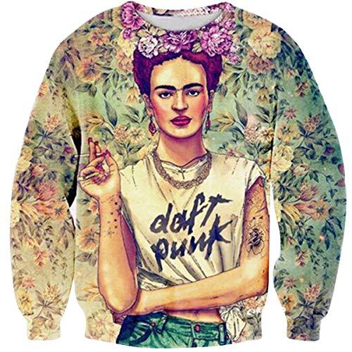 CNBJMAZA Frida Kahlo Sudadera con Estampado de para Mujer Bien conocida Sudaderas con Capucha de Manga Larga Vintage Top de Mujer