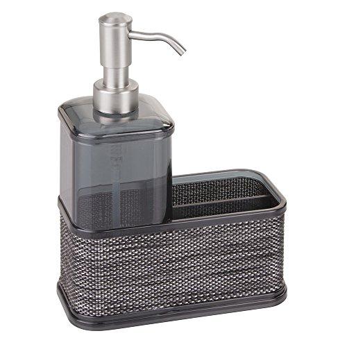 InterDesign Twillo - Centro organizador con bomba dosificadora de jabón líquido; para cocina, cuarto de baño - Humo/negro