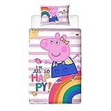 Peppa Pig Friends - Funda de edredón con Funda de Almohada a Juego, poliéster, algodón, Color...