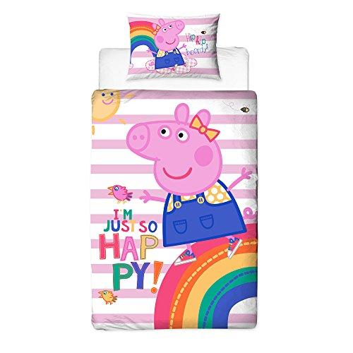 Peppa Pig Friends gestreift Bettbezug mit passendem Kissen Fall, Polyester-, Einzelbettgröße, Pink