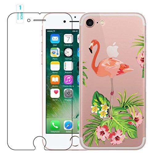 iPhone 5/5S/SE Flamingo Coque en silicone avec protection d'écran en verre trempé, Blossom01Ultra mince souple en gel TPU Coque de protection en silicone avec motif de dessin animé pour iPhone SE/5/5 #13