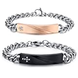 Infinity ID Edelstahl Armbänder Partnerarmbänder mit Gravur nach Wunsch TOP (Mit Gravur)