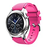 MYQyiyi Bracelet en silicone pour montre intelligente Samsung Gear S3 Classic rose