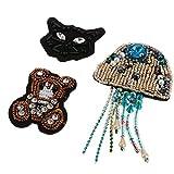3pcs Parche Bordado de Abalorios Rhinestone Forma de Medusa/Oso/Gato Apliques de Ropas Accesorios de Costura de Manualdiades
