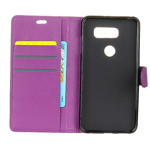 Solid Color Litchi Hautmuster Faux Ledertasche, Retro Folio Stand Case mit weichen Back Cover Geldbörse Tasche mit Card Slots für LG V30 ( Color : Purple ) Purple